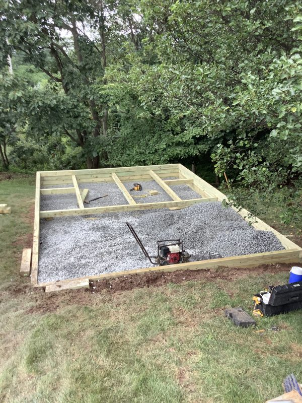 Installing a gravel shed foundation in Royersford, PA