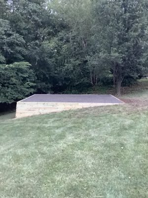 A crushed stone shed foundation in Royersford, PA