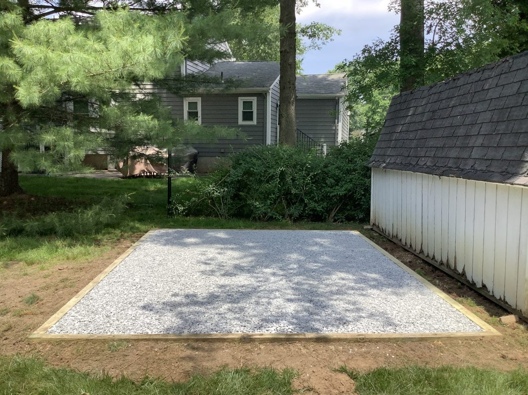 A gravel shed foundation in Hillsborough, NJ