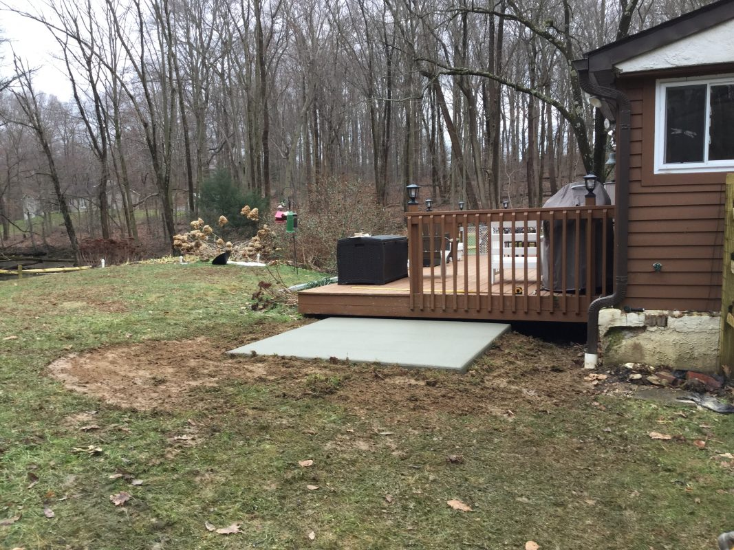 A concrete shed foundation in Coatesville, PA