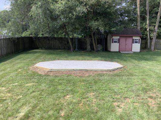 A gravel gazebo foundation in Camp Springs, MD