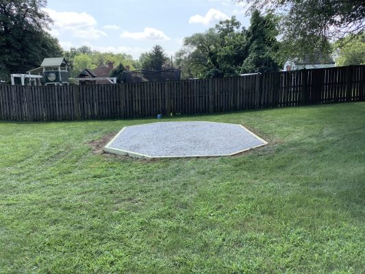 A crushed stone gazebo foundation in Camp Springs, MD