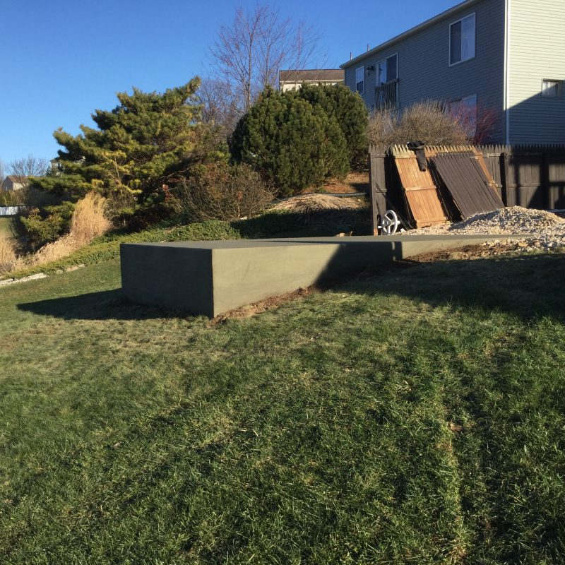 A concrete shed foundation in Lebanon, PA