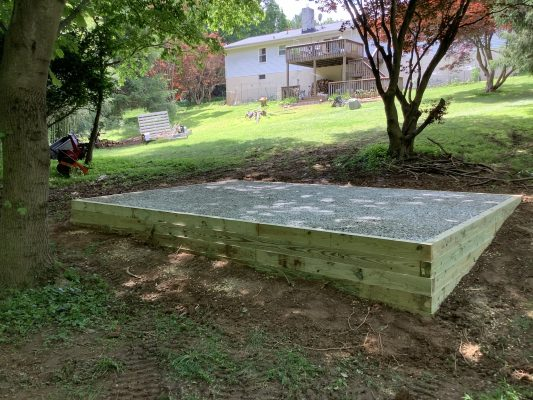 A crushed stone foundation for a shed in Sykesville, MD