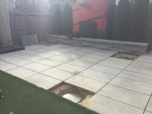 A concrete shed foundation in Richmond, VA