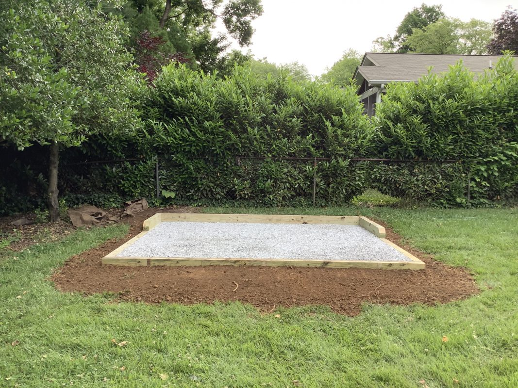 A gravel shed foundation in Bethesda, MD