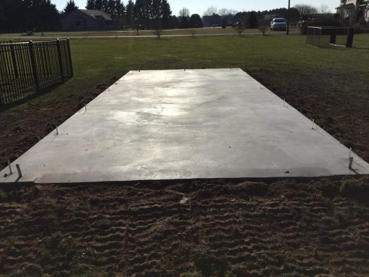 A concrete shed foundation in Milton, DE
