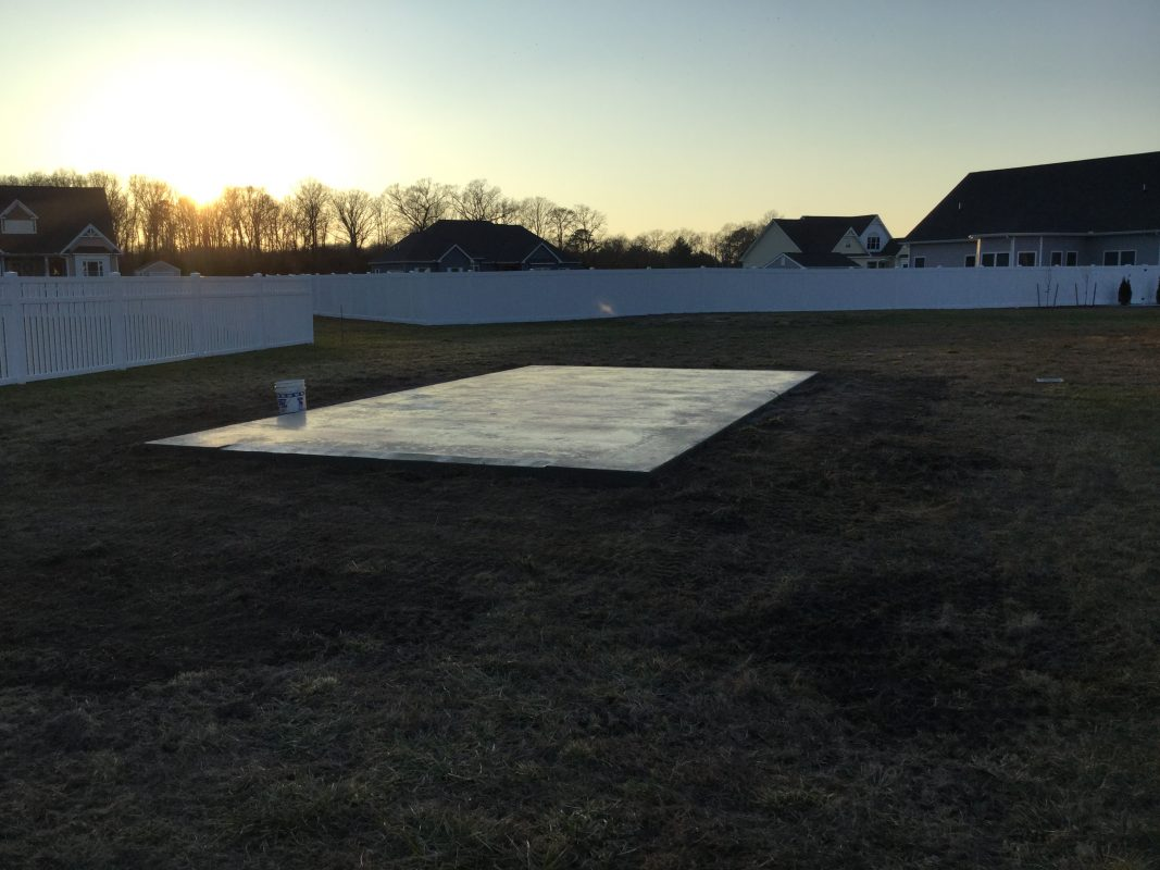 A concrete shed foundation in Georgetown, DE