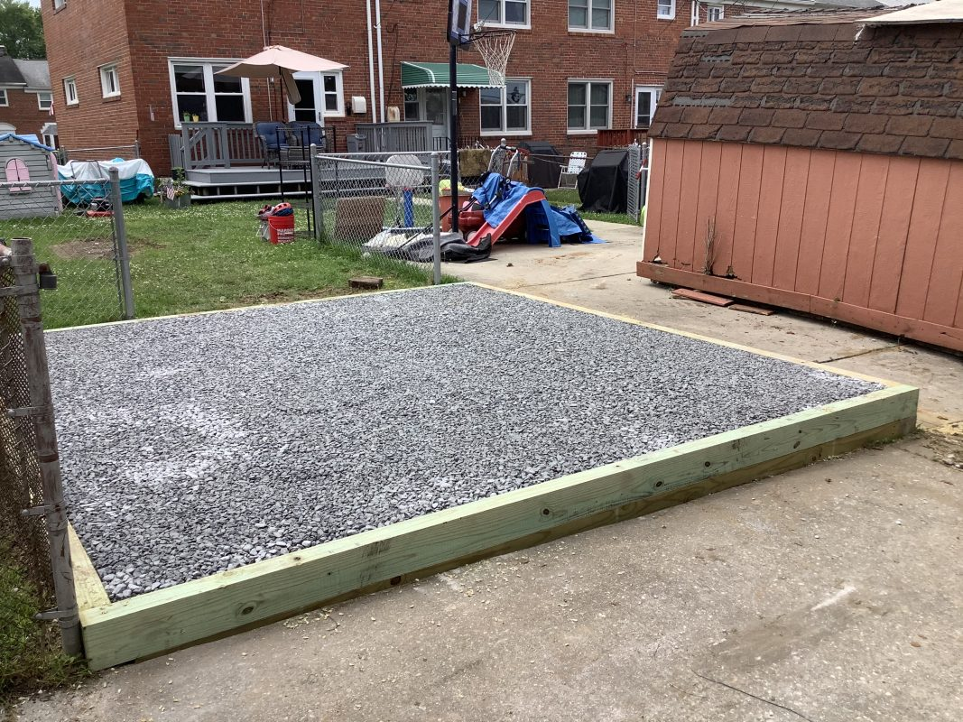 A gravel shed foundation in Parkville, MD