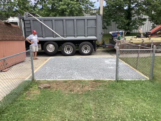 A crushed stone foundation for a shed in Parkville, MD