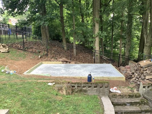 A shed foundation in Metuchen, NJ