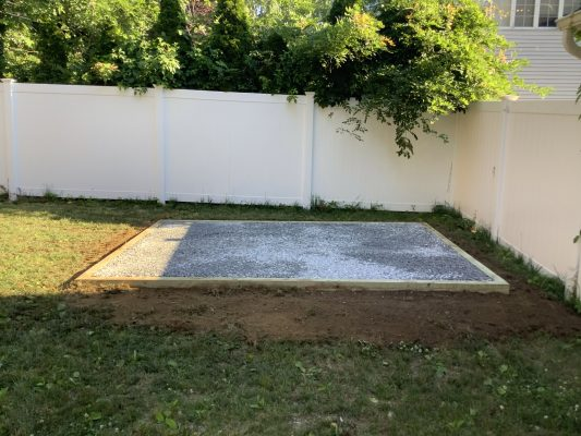 A gravel shed foundation in Nesconset, NY