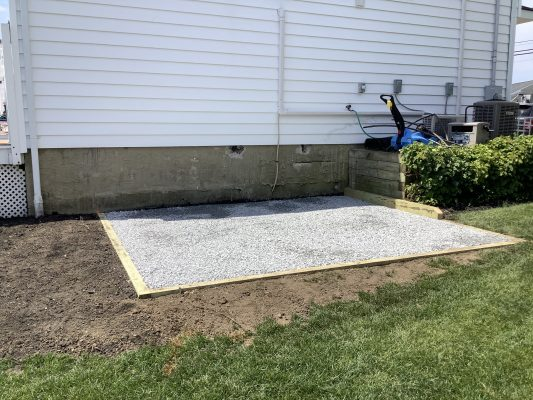 A gravel shed foundation in Massapequa, NY