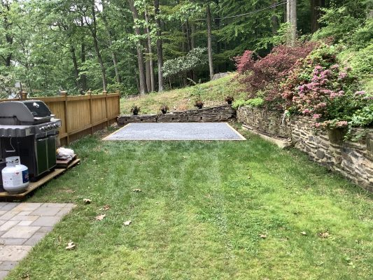 A gravel shed foundation installed in King of Prussia, PA