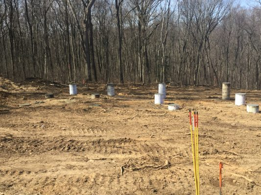 A concrete pier shed foundation in Oxford PA