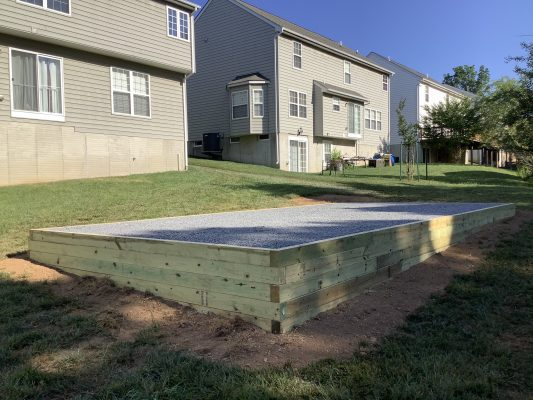 A gravel shed foundation in Owings Mills, MD