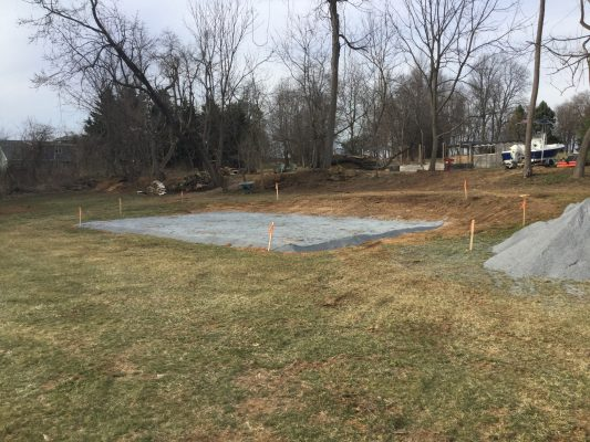 A concrete pier shed foundation in Chester Springs PA
