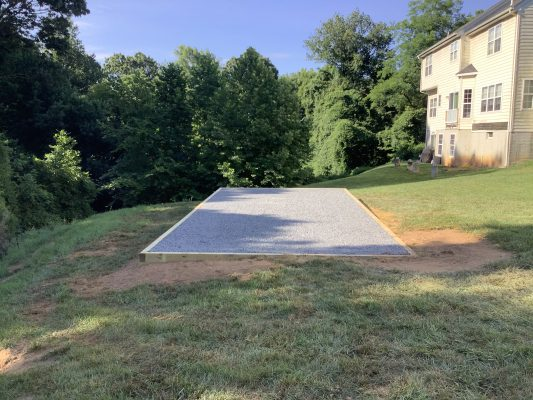 A shed pad installed in Owings Mills, MD