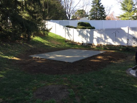 A concrete shed foundation in Haddonfield NJ