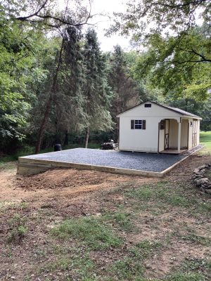 """A gravel shed foundation in Bel Air, MD"""