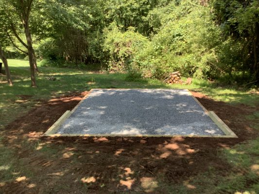 A gravel shed foundation in Far Hills, NJ