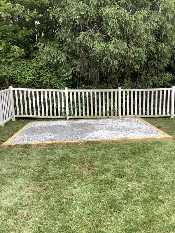 A crushed stone foundation for a shed in Eldersburg, MD