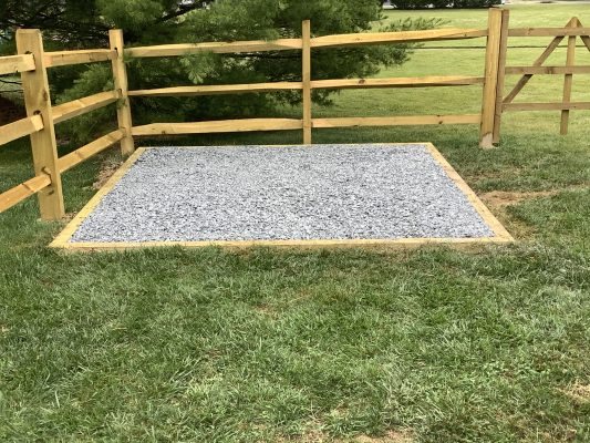 A gravel shed foundation in Newark, DE