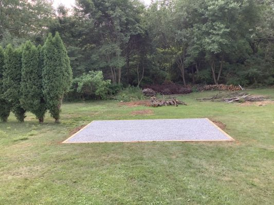 A gravel shed foundation in Wilkes-Barre, PA