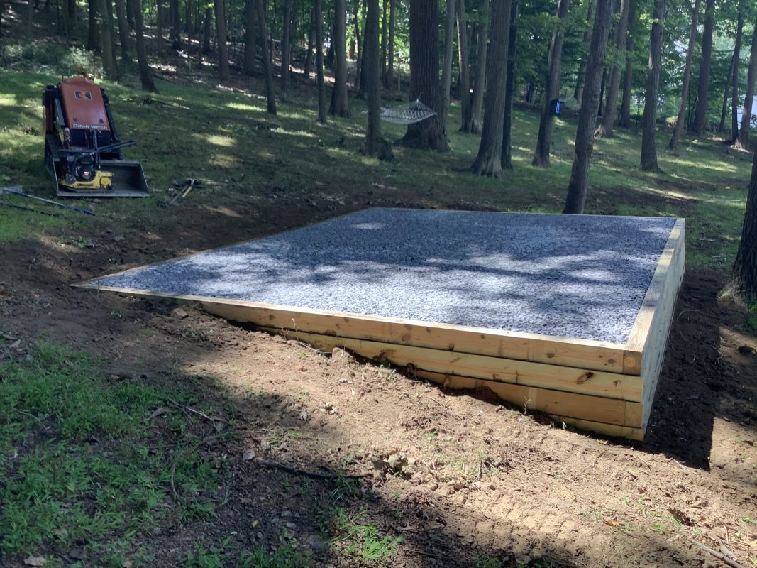 A crushed stone shed foundation in Far Hills, NJ