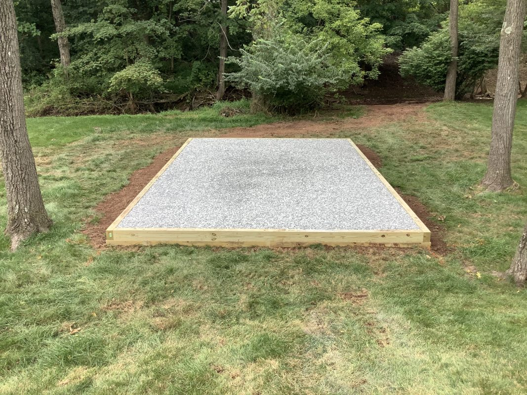 A gravel shed foundation in Gilbertsville, PA