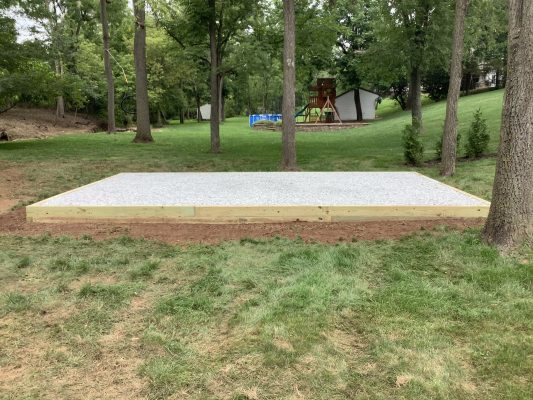A crushed stone shed foundation in Gilbertsville, PA