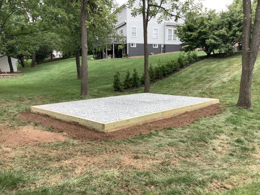 Foundation for a shed in Gilbertsville, PA