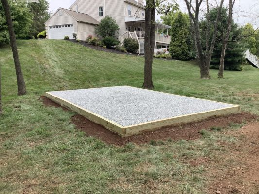 A shed pad installed in Gilbertsville, Pa