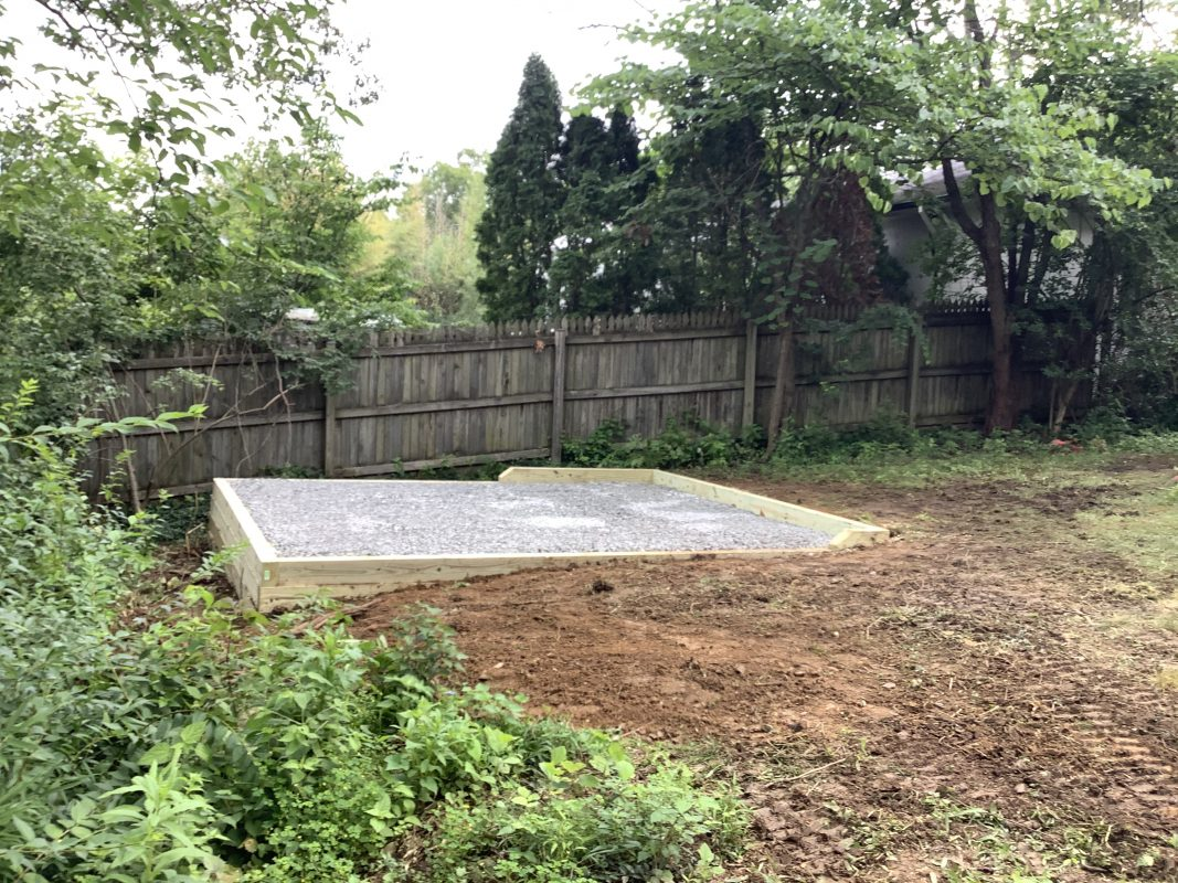 A crushed stone shed foundation in Chevy Chase, MD