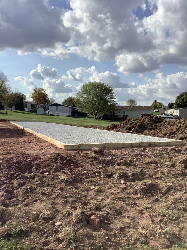 """A gravel shed foundation in Dover, PA"""