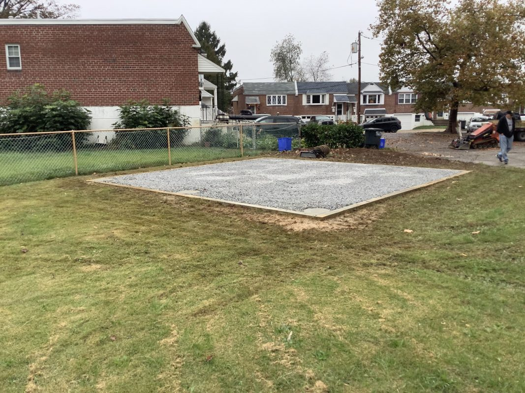 """A gravel shed foundation in Philadelphia, PA"""