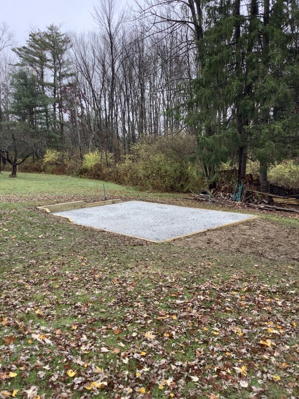 """A gravel shed foundation in Endicott, NY"""