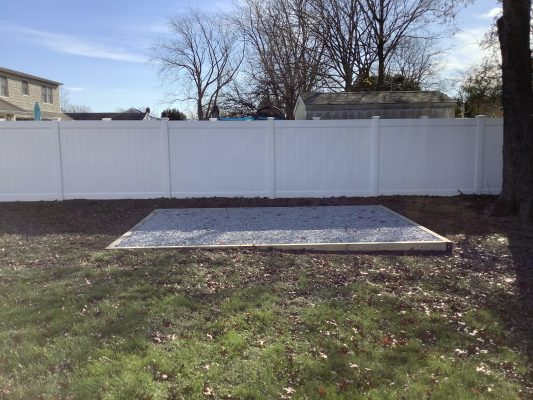 A gravel shed foundation in South Setauket, NY