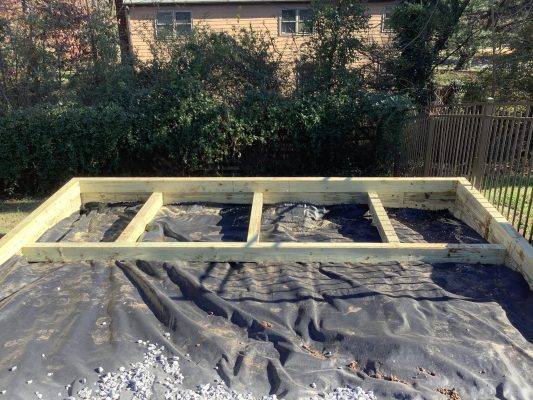 A gravel shed foundation in Ambler, PA