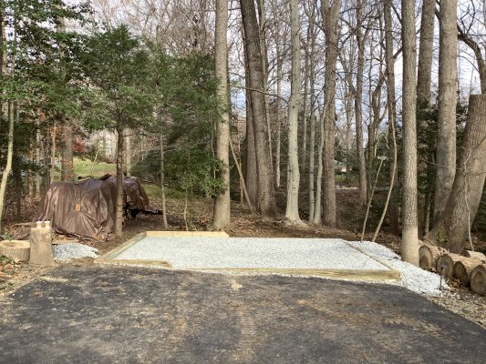 A gravel shed foundation in Davidsonville, MD