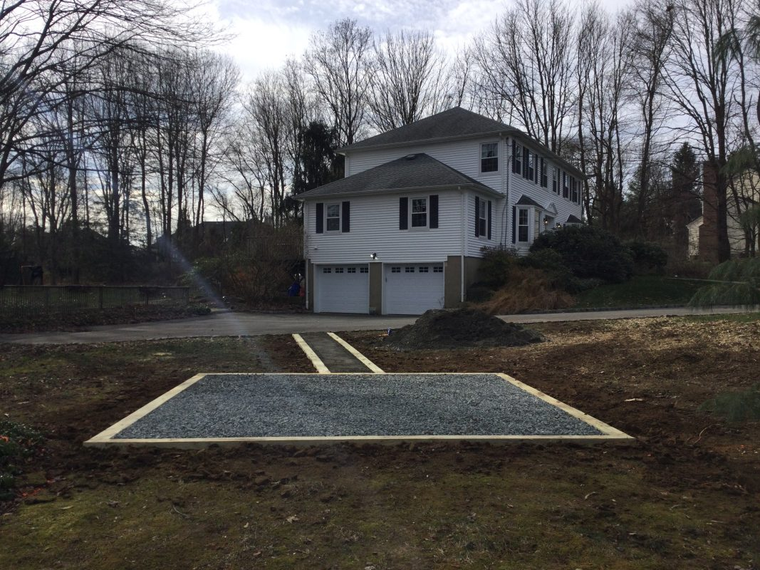 A gravel shed foundation in Mendham, NJ