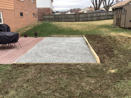 A gravel shed foundation in Upper Marlboro, MD