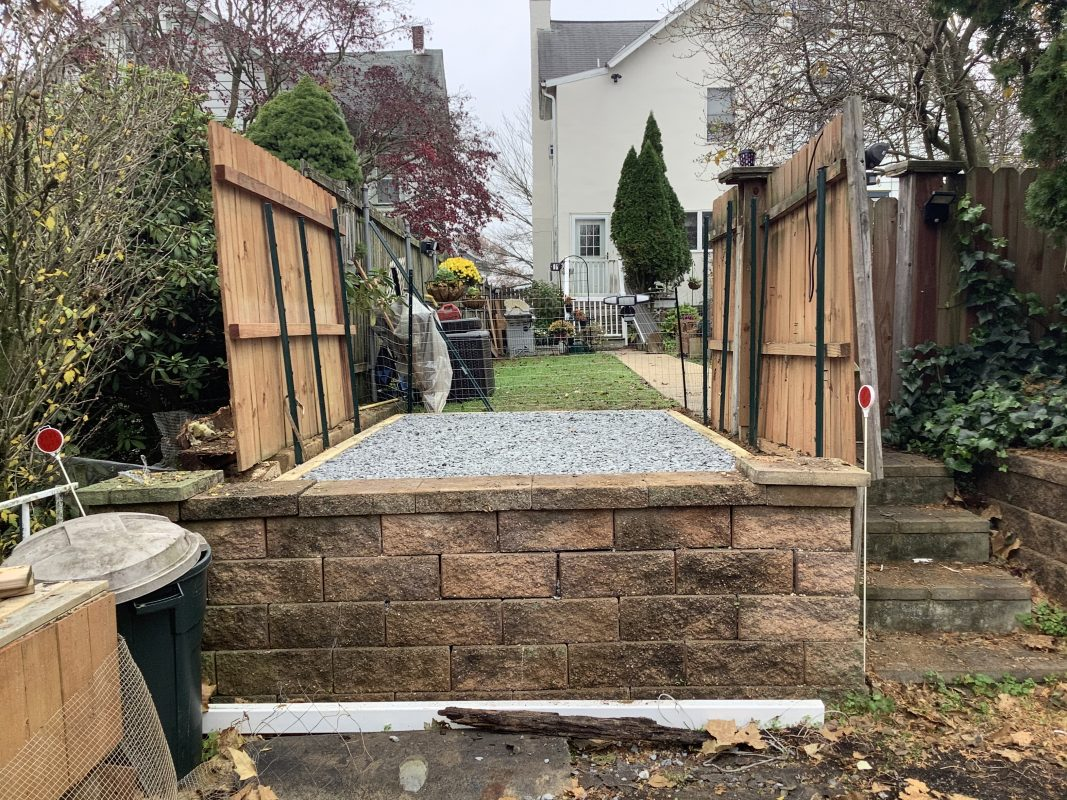 A gravel shed foundation in Kennett Square, PA