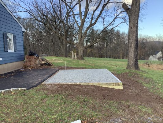 A gravel shed foundation in Flemington, NJ