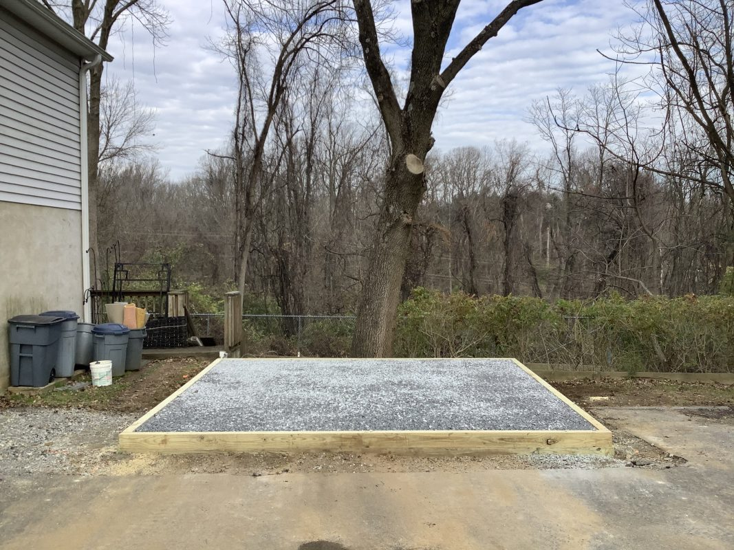 A gravel shed foundation in Chadds Ford, PA