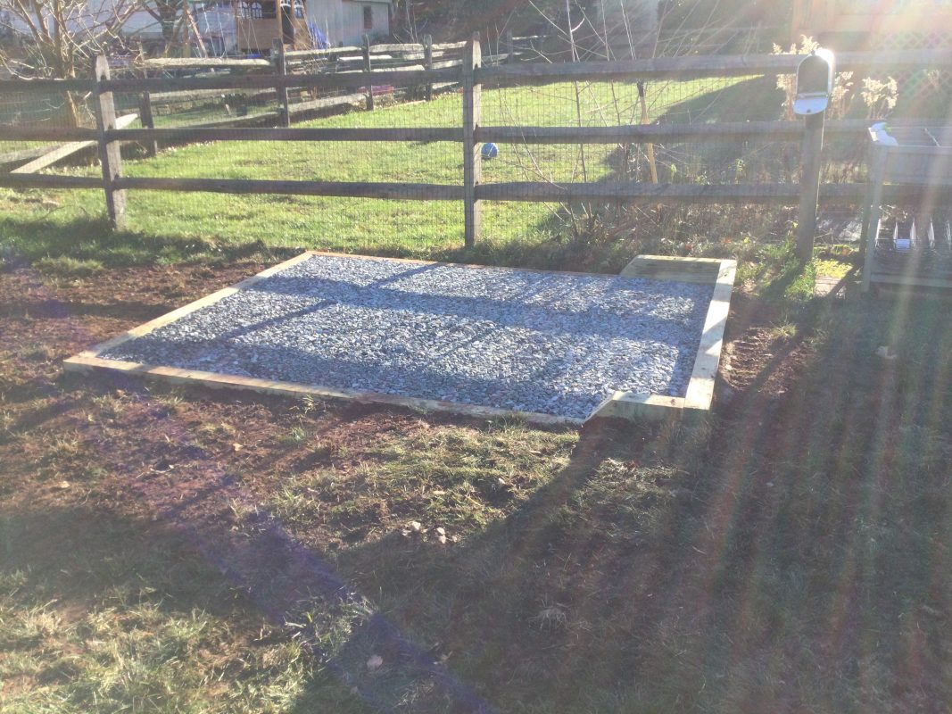 A gravel shed foundation in Perkiomen Twp, PA