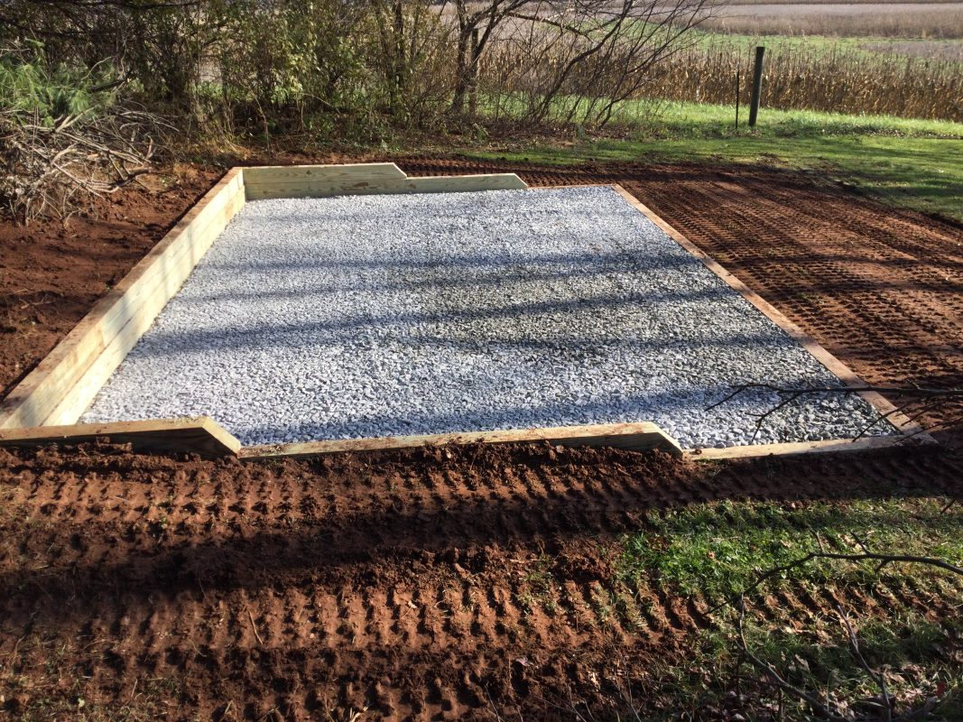 A gravel shed foundation in East Pikeland Twp., PA