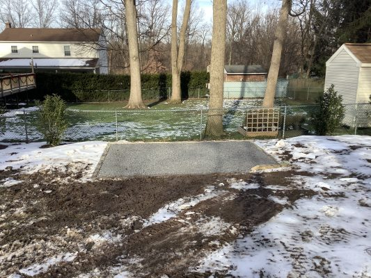 A gravel shed foundation in King of Prussia, PA