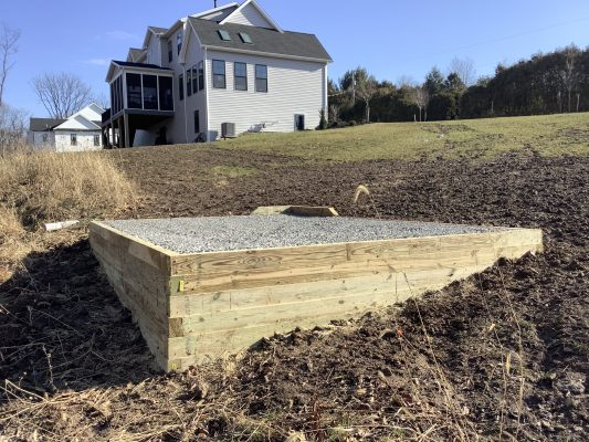 A gravel shed foundation in West Hanover, PA