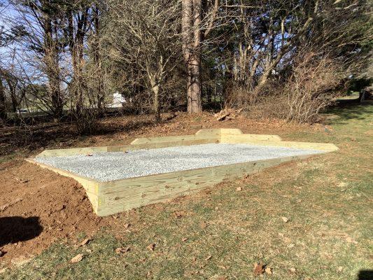 A gravel shed foundation in Kingsville, MD